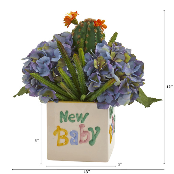 13 Hydrangea and Cactus Artificial Arrangement in New Baby Vase - SKU #A1320 - 1