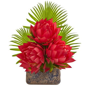 25 Musella and Fan Palm Artificial Arrangement in Vintage Vase - SKU #A1321