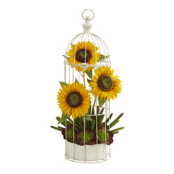 24 Sunflower Cactus and Echeveria Artificial Arrangement in Decorative Cage - SKU #A1322