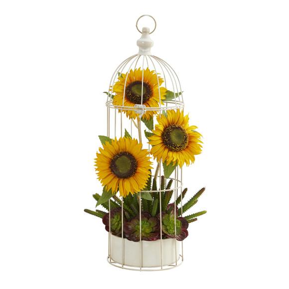 24 Sunflower Cactus and Echeveria Artificial Arrangement in Decorative Cage - SKU #A1322