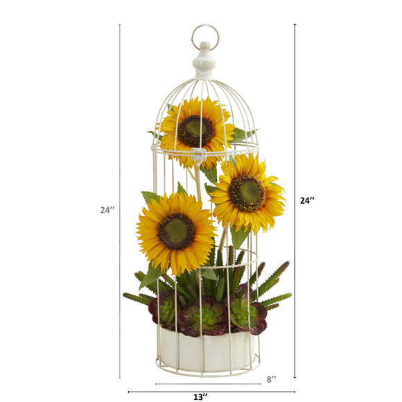 24 Sunflower Cactus and Echeveria Artificial Arrangement in Decorative Cage - SKU #A1322 - 1