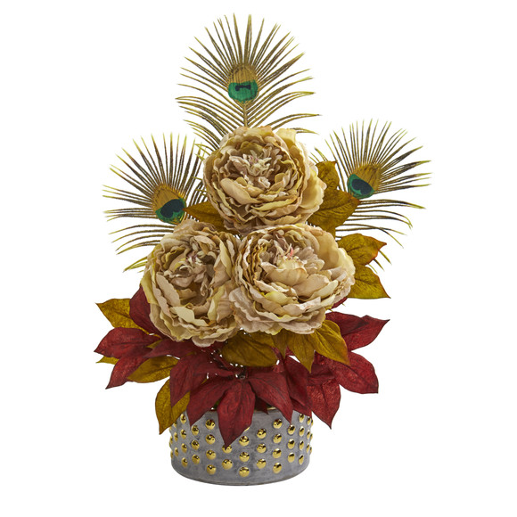 22 Peony and Peacock Feather Artificial Arrangement in Bowl with Gold Trimming - SKU #A1323