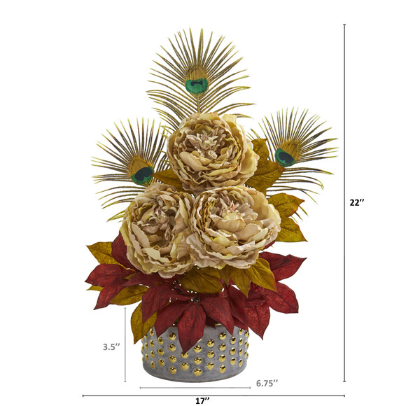 22 Peony and Peacock Feather Artificial Arrangement in Bowl with Gold Trimming - SKU #A1323 - 1