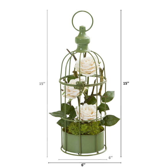 15 Triple Rose Artificial Arrangement in Decorative Cage - SKU #A1324 - 9
