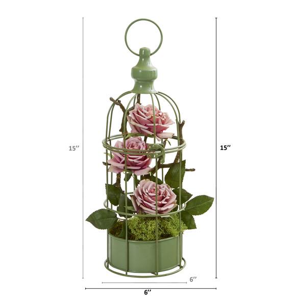 15 Triple Rose Artificial Arrangement in Decorative Cage - SKU #A1324 - 7