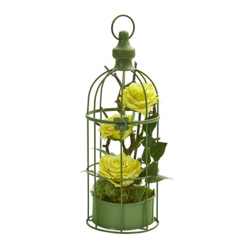 15 Triple Rose Artificial Arrangement in Decorative Cage - SKU #A1324