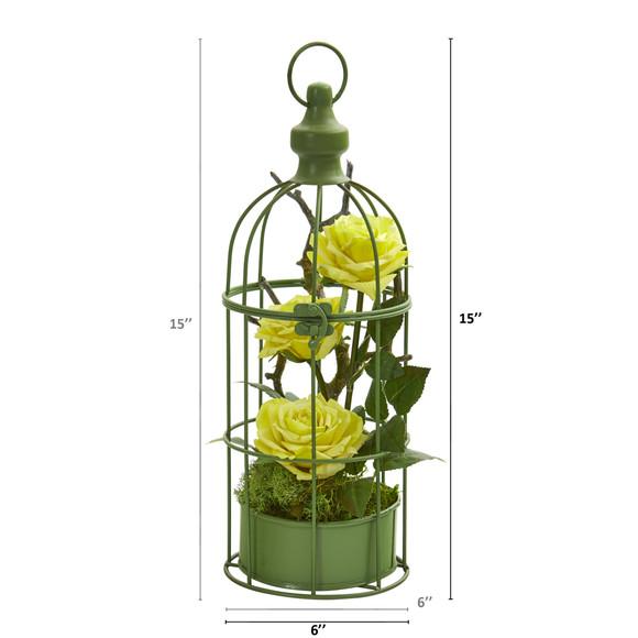 15 Triple Rose Artificial Arrangement in Decorative Cage - SKU #A1324 - 1