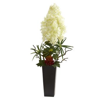 3 Peegee Hydrangea and Succulent Artificial Arrangement in Black Vase - SKU #A1325