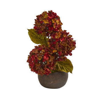 14 Fall Hydrangea Artificial Arrangement in Stone Vase - SKU #A1326