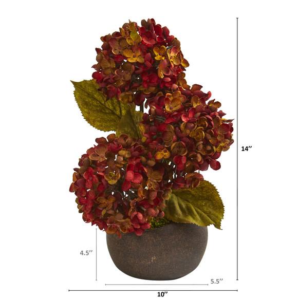 14 Fall Hydrangea Artificial Arrangement in Stone Vase - SKU #A1326 - 1