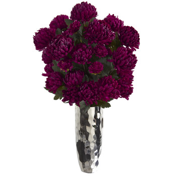 31 Mum Artificial Arrangement in Silver Vase - SKU #A1327