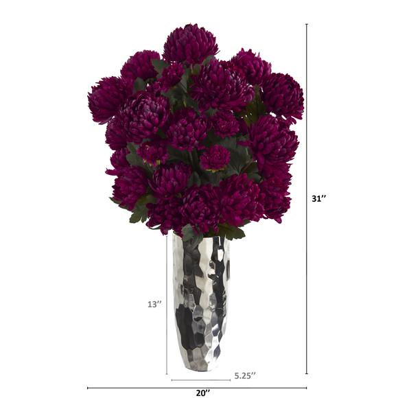 31 Mum Artificial Arrangement in Silver Vase - SKU #A1327 - 1