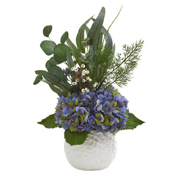 20 Hydrangea and Eucalyptus Artificial Arrangement in White Vase - SKU #A1328