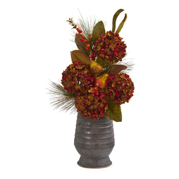 26 Hydrangea Pear and Magnolia Artificial Arrangement in Metal Vase - SKU #A1329