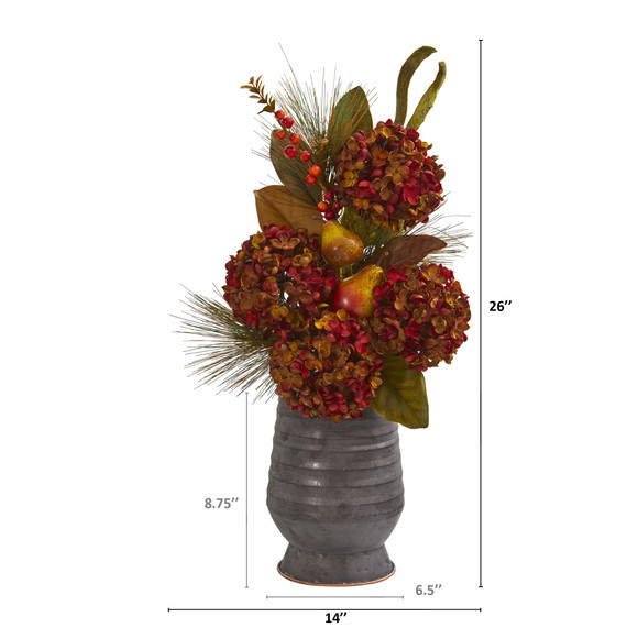 26 Hydrangea Pear and Magnolia Artificial Arrangement in Metal Vase - SKU #A1329 - 1