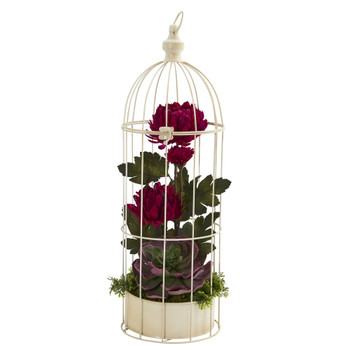 24 Mum and Echeveria Artificial Arrangement in Decorative Cage - SKU #A1330