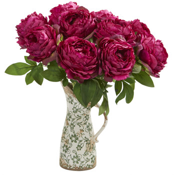 18 Peony Artificial Arrangement in Floral Pitcher - SKU #A1331-OR