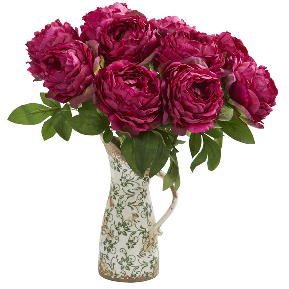 18 Peony Artificial Arrangement in Floral Pitcher - SKU #A1331