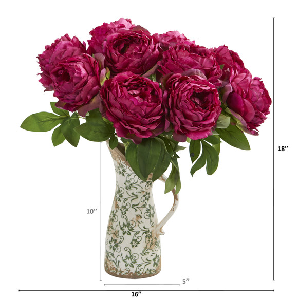 18 Peony Artificial Arrangement in Floral Pitcher - SKU #A1331 - 1