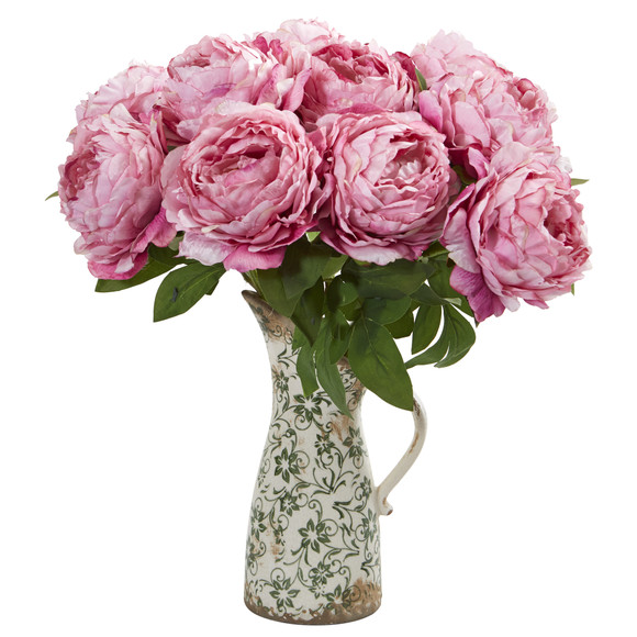 18 Peony Artificial Arrangement in Floral Pitcher - SKU #A1331 - 2