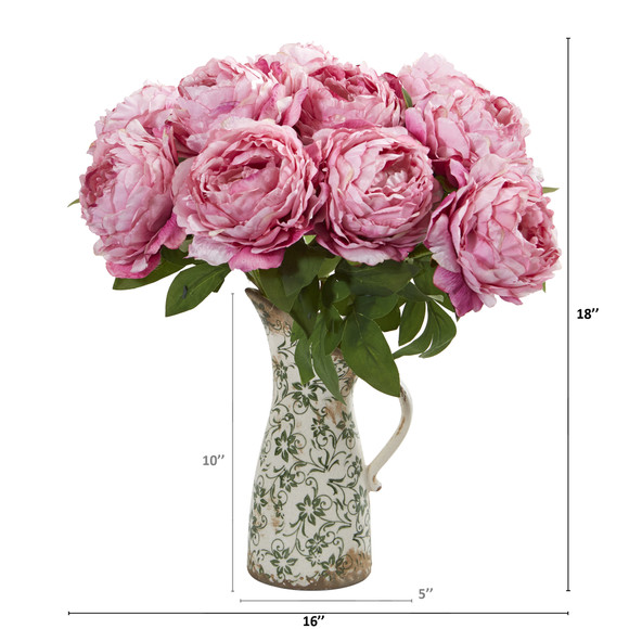 18 Peony Artificial Arrangement in Floral Pitcher - SKU #A1331 - 3