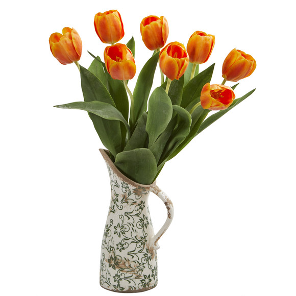 19 Tulip Artificial Arrangement in Floral Pitcher - SKU #A1332 - 6