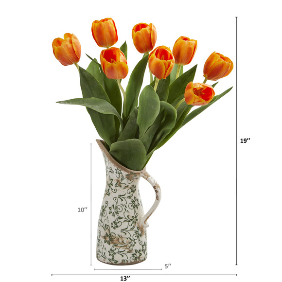 19 Tulip Artificial Arrangement in Floral Pitcher - SKU #A1332 - 5