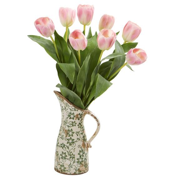 19 Tulip Artificial Arrangement in Floral Pitcher - SKU #A1332 - 2