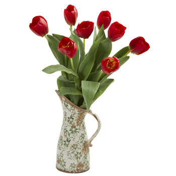19 Tulip Artificial Arrangement in Floral Pitcher - SKU #A1332