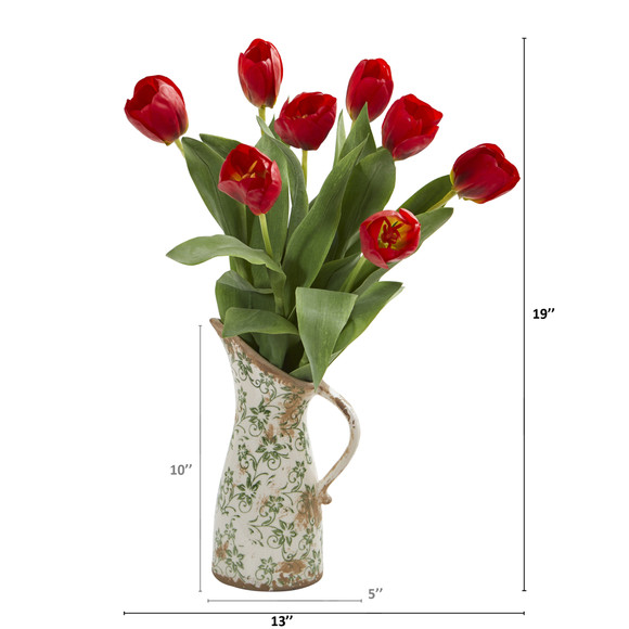 19 Tulip Artificial Arrangement in Floral Pitcher - SKU #A1332 - 1