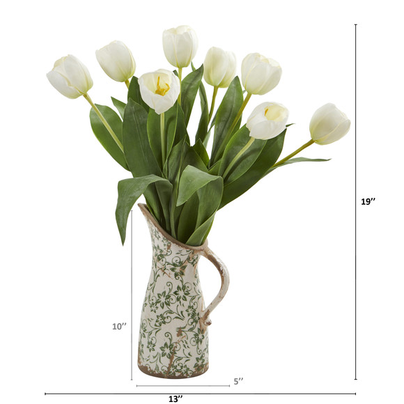 19 Tulip Artificial Arrangement in Floral Pitcher - SKU #A1332 - 3