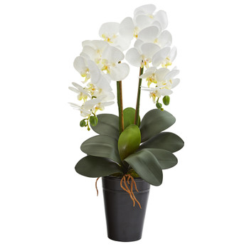 23 Double Phalaenopsis Orchid Artificial Arrangement in Vase - SKU #A1333