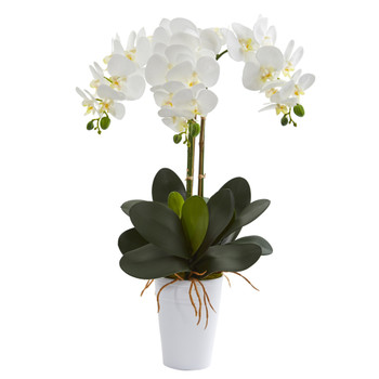 24 Phalaenopsis Orchid Artificial Arrangement in White Vase - SKU #A1334