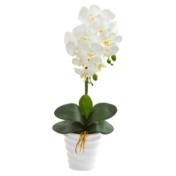 23 Phalaenopsis Orchid Artificial Arrangement in Swirl White Vase - SKU #A1335