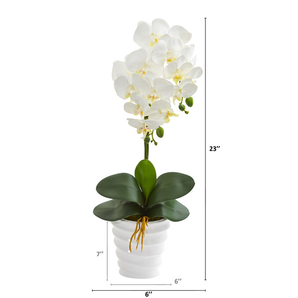 23 Phalaenopsis Orchid Artificial Arrangement in Swirl White Vase - SKU #A1335 - 1