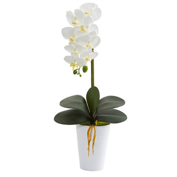 23 Phalaenopsis Orchid Artificial Arrangement in White Vase - SKU #A1336
