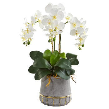 24 Triple Phalaenopsis Orchid Artificial Arrangement in Stoneware Vase with Gold Trimming - SKU #A1338