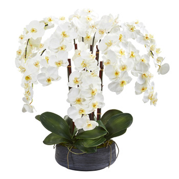 29 Phalaenopsis Orchid Artificial Arrangement in Decorative Bowl - SKU #A1339