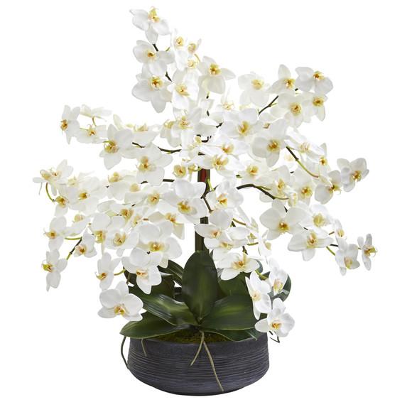25 Phalaenopsis Orchid Artificial Arrangement in Decorative Bowl - SKU #A1341