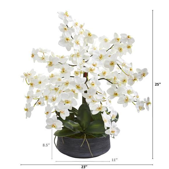 25 Phalaenopsis Orchid Artificial Arrangement in Decorative Bowl - SKU #A1341 - 1