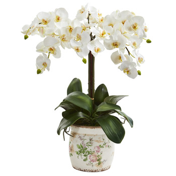 24 Phalaenopsis Orchid Artificial Arrangement in Floral Vase - SKU #A1343