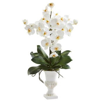 23 Phalaenopsis Orchid Artificial Arrangement in White Urn - SKU #A1344