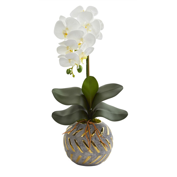 20 Phalaenopsis Orchid Artificial Arrangement in Planter with Gold Trimming - SKU #A1345