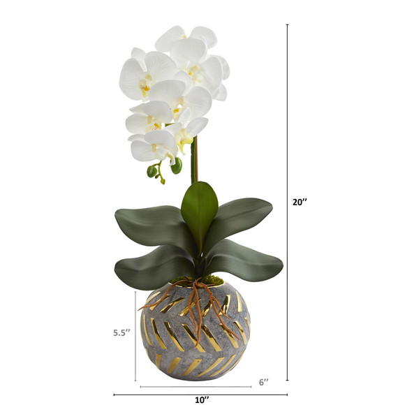 20 Phalaenopsis Orchid Artificial Arrangement in Planter with Gold Trimming - SKU #A1345 - 1