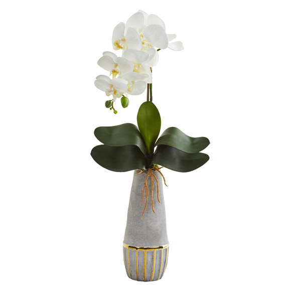 24 Phalaenopsis Orchid Artificial Arrangement in Stoneware Vase with Gold Trimming - SKU #A1346