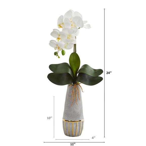 24 Phalaenopsis Orchid Artificial Arrangement in Stoneware Vase with Gold Trimming - SKU #A1346 - 1