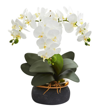 18 Phalaenopsis Orchid Artificial Arrangement in Black Vase with Bronze Rim - SKU #A1347