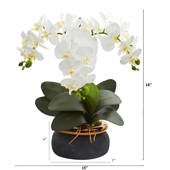 18 Phalaenopsis Orchid Artificial Arrangement in Black Vase with Bronze Rim - SKU #A1347 - 1