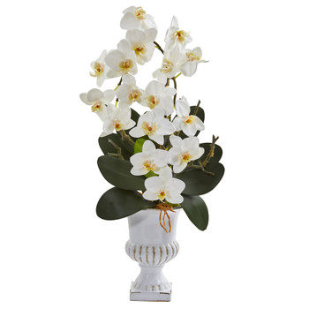 26 Phalaenopsis Orchid Artificial Arrangement in White Urn - SKU #A1348