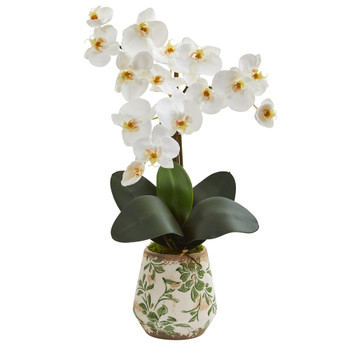 20 Phalaenopsis Orchid Artificial Arrangement in Floral Vase - SKU #A1349